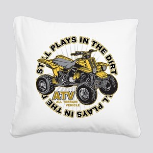 Plays in the Dirt ATV Square Canvas Pillow